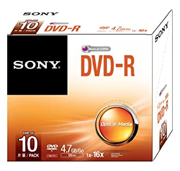 Sony 10DMR47SS 16x DVD-R 4.7GB Recordable DVD Media - 10 Pack