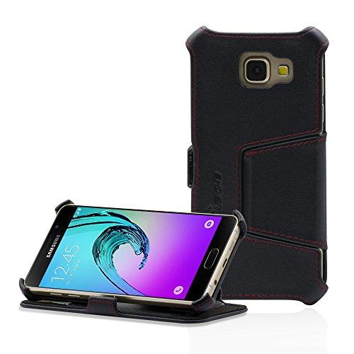 Manna Samsung Galaxy A5 (2016) SM-A510 Hülle, Lederhülle Tasche Handyhülle | Hülle aus Nappaleder mit Standfunktion | Galaxy A5 (2016) Schutzhülle Leder