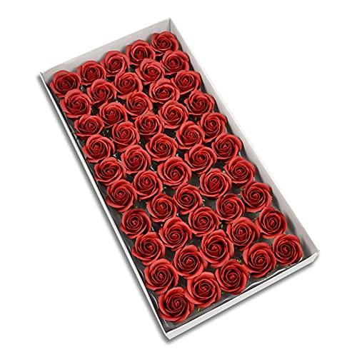 WYZQ Cabeza de Flor Artificial 50 Piezas Hortensia Flor Artificial de Tres Capas Cabeza de Rosa Decoración de Boda Cajas de Regalo Cestas Flor de jabón Flores Falsas (Rojo Vino)