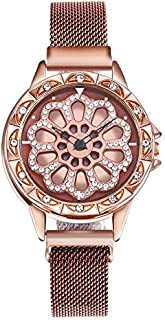 stylish women's watch with moving dial diamond loaded case mesh band magnet buckle stylish 8 colors