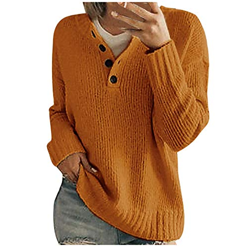 WUAI-Women Sweater for Women, V Neck Waffle Knit Sweater Casual Long Sleeve Slim Fit Pullover Jumper Tops Blouses(Orange,Medium)