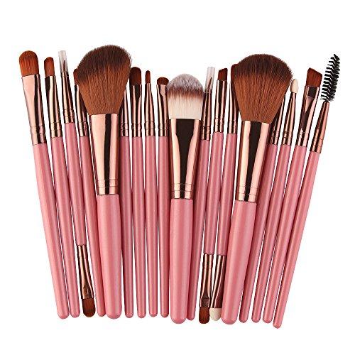 Givekoiu 2019 - Juego de 18 brochas de maquillaje sintéticas Kabuki de primera calidad para base de maquillaje en polvo, colorete, correctores de sombras de ojos