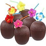 Gejoy 12 Stück Hawaiian Luau Kunststoff Coconut Cups mit Hibiscus Blume Biegsamen Strohhalme für...