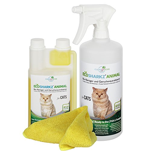 Geruchsneutralisierer Spray für Katzen - natürlicher Katzenurin Entferner - gegen Katzenklo Geruch (500ml Konzentrat ergeben 25 Liter gebrauchsfertigen Urin-Geruchsentferner)