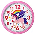 Ravel - Reloj de pared infantil (25 cm), diseño de unicornio rosa