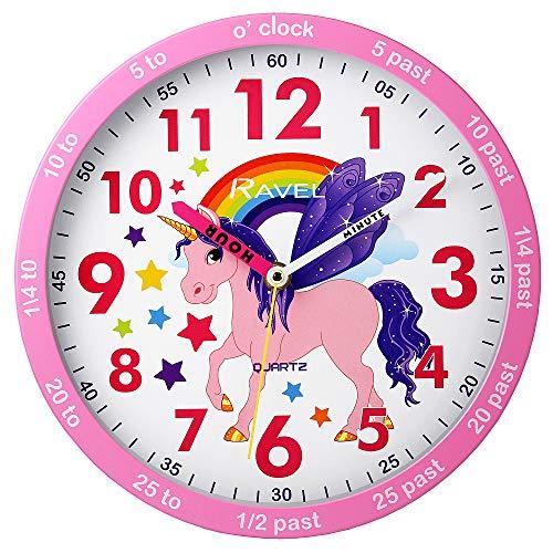 Ravel Reloj de pared para niños (25 cm), diseño de unicornio rosa