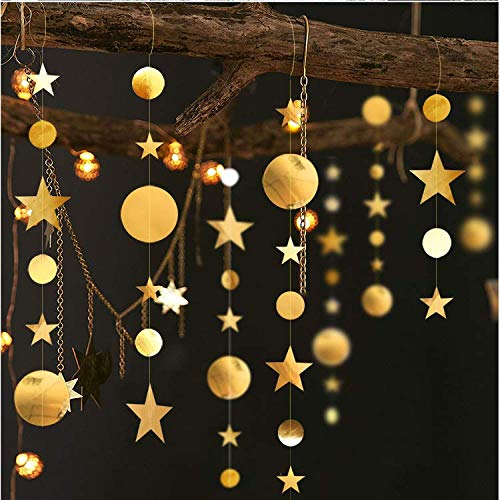 Hoocozi Star Banner Garland Decorations 3PCS Christmas Party Decorations Twinkle Star Party Decorations for Wedding/Christmas/Birthday/Kid's Room(Gold)