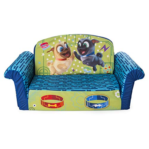 Marshmallow Furniture , Children's 2 In 1 Flip Open Foam Sofa, Disney's Puppy Dog Pals by Spin Master, Multicolor