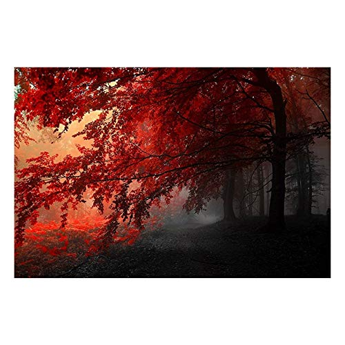 Nobrand canvasdruk canvas prints 1 stuk herfst Splendor Red Tree Fog Forest Pictures Living Room Nature Road Poster Wall Art