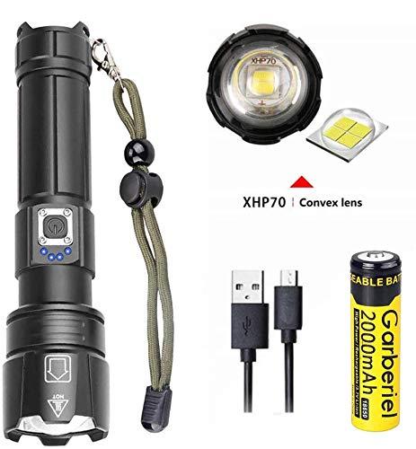 Garberiel Xhp70.2 - Linterna LED con zoom (5 modos,