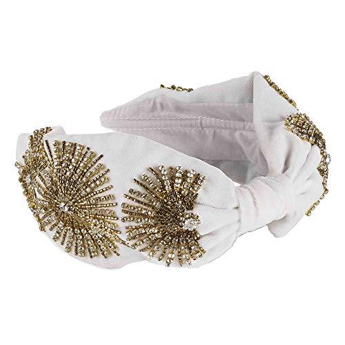 Anairys vintage knoop haar turban in boho hoofd wrap mode haarbanden en accessoires voor vrouwen, Wit, Goud, M