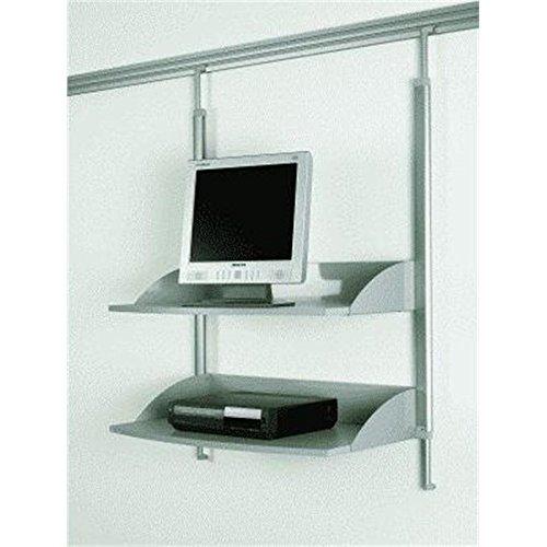 Legamaster 7-325300 Multimedia Regal für Legaline Dynamic Wandschienensystem, 2 verstellbare Böden, eloxiertes Aluminium