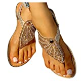 Aniywn Ladies Sandals Bohemia Flip Flops Sandals Summer Casual Comfortable Crystal t-Strap Thong Sandals Gold