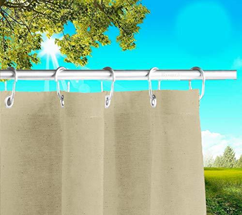 Byour3®️ Balkon Markisen Mit Ringen Sichtschutz - Vertikal Sonnensegel Aus Atmungsaktive Harzbaumwolle Sonnenschutz Terrassen Outdoor Vorhänge Ösen Wasserdichter Stoff (Beige, L.390 X280cm)