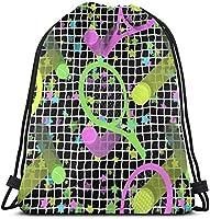 レトロDaygloテニススタードローストリングバックパックバッグ、ポリエステルシンチサック、防水スポーツジムバッグスクールデイパック36 x 43cm