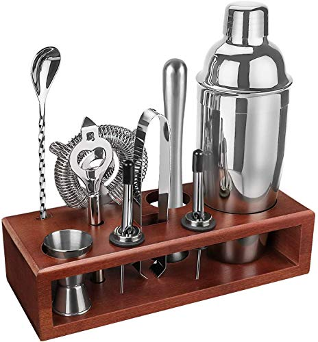 Cocktail Shaker Set Bartender Kit with Stand