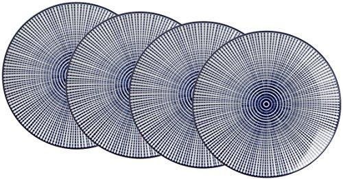Ritzenhoff & Breker Speiseteller-Set Royal Makoto, 4-teilig, 26,5 cm Durchmesser, Porzellangeschirr, Blau-Weiß