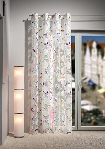 Gardine - Ösenschal , 140 x 245 cm ein hochwertiger Ausbrenner, offwhite/ natur , transparent mit farbiger Kreisoptik, acht Ösen in Chrom, exklusive Ware von Heco Finest art