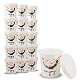 Double Wall Poly Paper Hot Cups for Hot Food and Soup or Cold Ice Cream with Vented Paper Lids to...