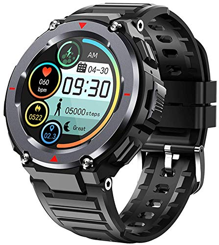 X&Z-XAOY Orologio Intelligente per Chiamate Bluetooth Orologio da Polso Impermeabile IPS TFT Music Smartwatch da Lavoro da Uomo 1.28 Fitness Tracker Rotondo per Uomo (Color : Black)