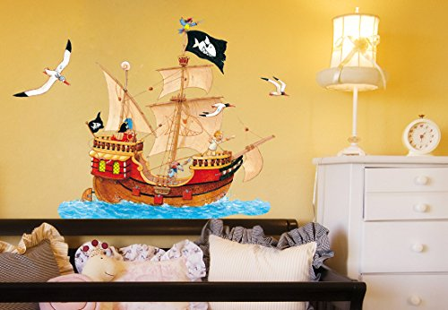 Beiwanda Wandtattoo Capt'n Sharky - Piratenschiff im Meer (70x47cm)