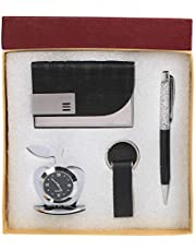 Celebr8 4 in 1 Corporate Gift Set with Apple Clock,Crystal Pen,Business Card Holder