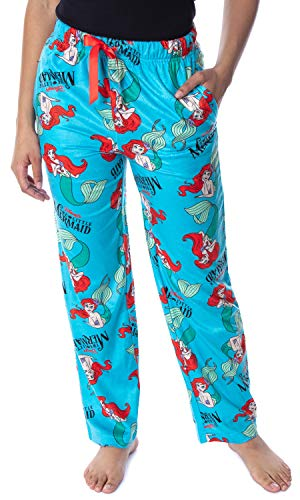 Disney Women's Little Mermaid Ariel Fleecy Soft Loungewear Sleep Pajama Pants (2X-Large) Sea Blue