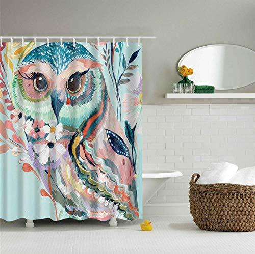 gexingshangdian Tiermuster Eule/Adler Polyester Duschvorhang waschbar hochwertige Bunte Badezimmer Vorhang-EIN_150 x 180 cm