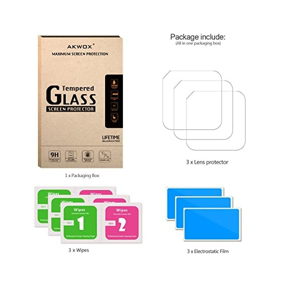 (Pack of 3) Tempered Glass Screen Protector for Gopro Hero 4 Session Hero 5 Session, Akwox 0.3mm 9H Hard Scratch… 3 High Hardness: 9H surface hardness tempered glass screen protector for GoPro session. Featuring maximum protection from high impact drops, scratches, scrapes, and bumps. High Transmittance Transparent: With not influence the Video shooting effect. Super Toughness: The protector will not break into small sharp pieces even if it is broken, which makes it safer than other glass products.