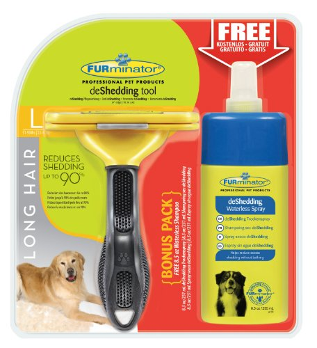 Furminator deshedding de Cuidado de Herramientas (para langhaarige Perros Grandes, tamaño L, con Gratis Anti de Pelo Secar Spray)