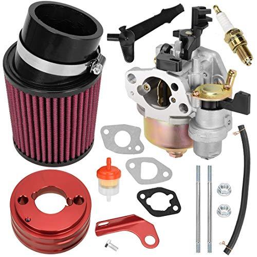 FVRITO High Performance Upgraded Carburetor Air Filter adapter Intake Spark Plug Kit for Predator 212cc 6.5 Hp Honda Gx160 Gx200 196cc Coleman CT200U Trail CT100U Engine Mini Bike Go Kart Racing Red