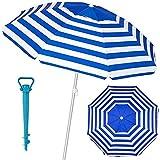 Mundozone Sombrilla antviento Playa Jardin de Aluminio 8 Varillas de Fibra de Vidrio protección UPF+50 99% UV con Soporte para Arena Ventana Superior inclinable (220 cn, Azul)