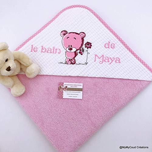 Sortie de bain ou cape de bain bébé personnalisée brodée petit ours cadeau de naissance Création Fait Main