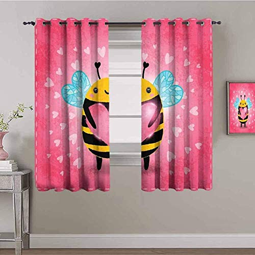 Nileco Cortinas Opacas Termicas - Rosa lindo animal abeja - 234x183 cm - Cortinas del Dormitorio de la Habitación de los Niños - 3D Impresión Digital con Ojales Aislamiento Térmico