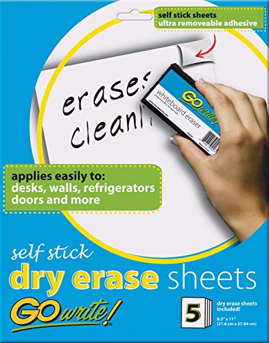 """GoWrite! Dry Erase Sheets, Self-Adhesive, 8-1/2"""" x 11"""", White, 5 Sheets"""