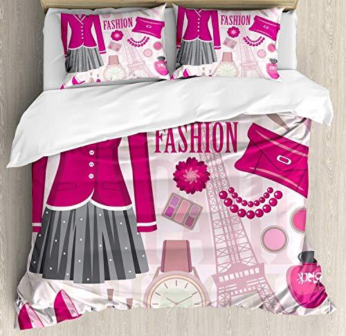 Fantastic Deal! 990 3 Piece Bedding Sets Queen Fashion Duvet Cover Set with Zipper Closure and 2 Pil...