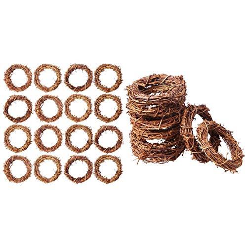 Cobeky Guirnalda de 24 coronas de vid de rama de Navidad de ratán guirnalda de decoración de 3.14 pulgadas y 5.9 pulgadas