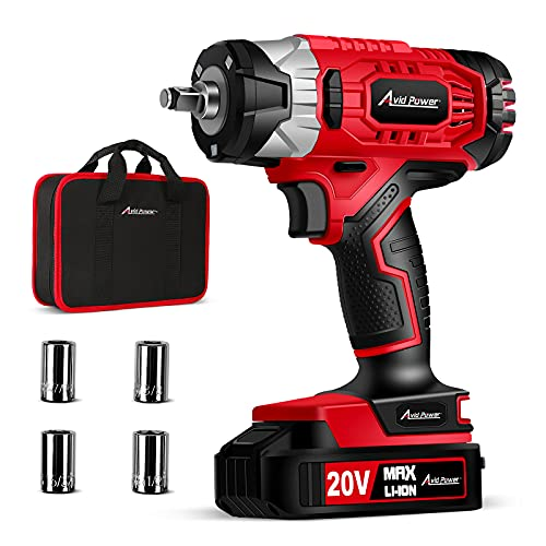"""AVID POWER 20V Cordless Impact Wrench 3/8"""" with 2.0Ah Li-ion Battery, 4Pcs Sockets, Max Torque 185 ft-lbs (250N.m), Compact Impact Wrench Kit"""