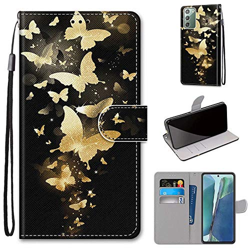 Miagon Flip PU Leder Schutzhülle für Samsung Galaxy Note 20,Bunt Muster Hülle Brieftasche Case Cover Ständer mit Kartenfächer Trageschlaufe,Gold Schmetterling