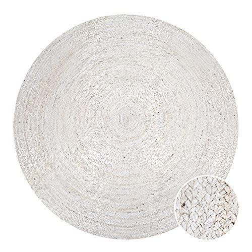 Paco Home Tapis Rond Salon Jute Motif Ethnique Boho Moderne Fait Main Tapis Naturel, Dimension:Ø 160 cm Rond, Couleur:Blanc