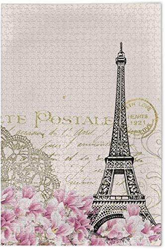 Paisaje Torre Eiffel Flores Rompecabezas de madera Juego educativo Juguetes de bricolaje Rompecabezas de madera 500 piezas Desafío y diversión para adultos Niños