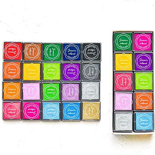Jieddey Stempelkissen Set,20 Farben Stempelkissen Kinder Stempel Abwaschbar Fingerabdruck Stempelkissen für Kinder Gummi Kunst Bastelkarte Herstellung Scrapbooking Papier Stoff
