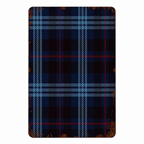 ADONINELP Carteles de metal Check Tartan rojo, negro y azul, cuadros de franela, patrones, azulejos para escocés, cartel de chapa, pared, hierro, pintura, decoración de la pared, arte, placas retro,