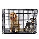 """DHYBDZ Jaula de Metal para Perros con Puerta Doble de 48"""", Jaula de Metal de Alambre Plegable para Perros Grandes, Perrera para Mascotas de fácil Limpieza para Interior y Exterior,122 * 77 * 82cm"""