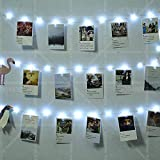 50 LEDs 30 Photo Clips String Fairy Lights Battery Powered Decoration for Living Room Bedroom Indoor Christmas Party Wedding for Photo Picture Hanging Display,3AA Battery Operated (16ft Warm White)