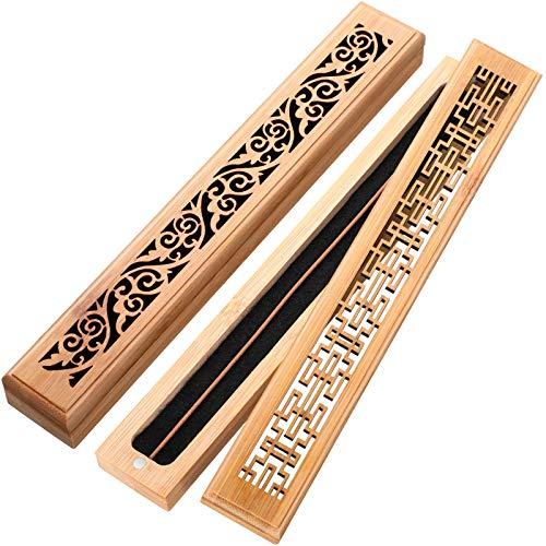 2 Pezzi Porta Incenso in Legno Porta Incenso di Bastoncini Elaborata Scatola di Bruciatore di Incenso Bruciatore di Ash Catcher per Meditazione, Yoga, Aromaterapia
