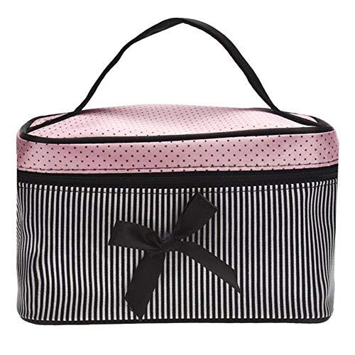 Designer Sacs cosmétiques Femmes Sac carré Bow Stripe Dot Organisateur Sac Maquillage Voyage Maquillage de cas Boîte femmes nécessaires à (Color : Black)