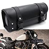 Motorcycle Bags, LILSIS Motorcycle Front Fork Bag PU Leather Tool Handlebar Bag, Black
