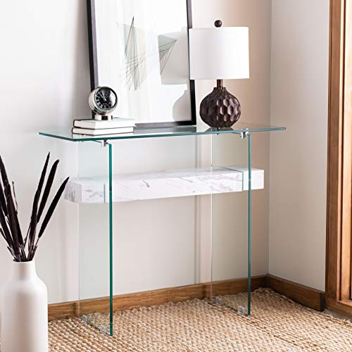 Safavieh Home Kayley White Marble and Glass Console Table