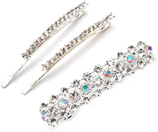 Luxxii - 1 Row and 3 Row Clear Rhinestone Crystal Hair Barrette Clip Hair Pin (Silver, 3 Count)